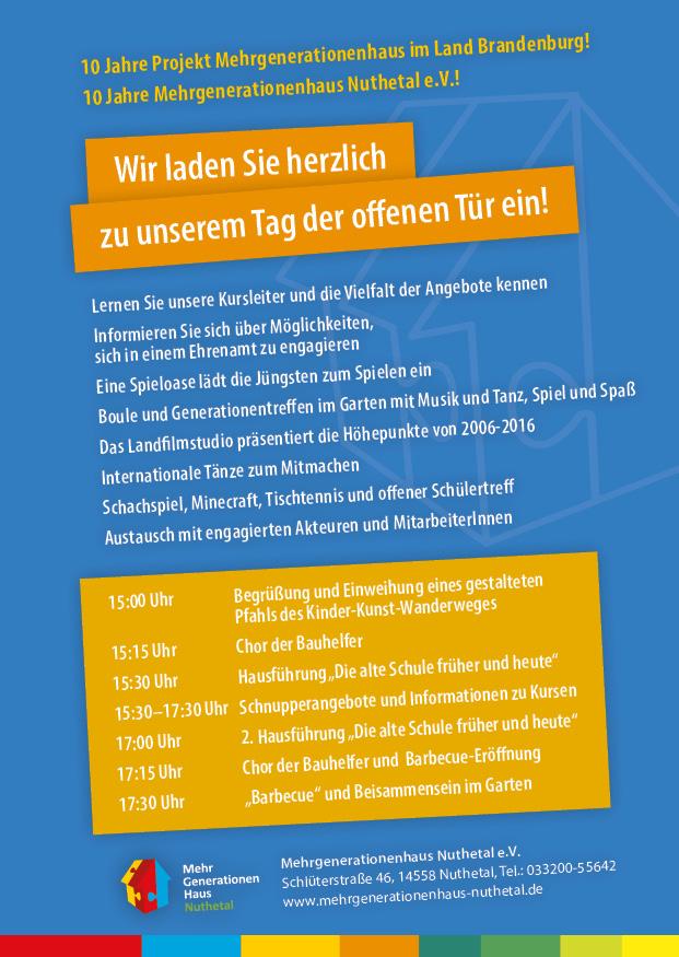 """Tag der offenen tür heute  Rückblick 27.05.2016: Tag der offenen Tür """"10 Jahre ..."""